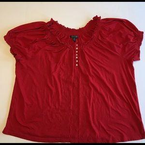 Lauren Ralph Lauren Women's  3XL Red Short Sleeve